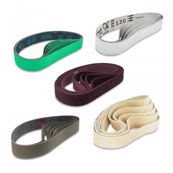 Sada brúsnych pásov - 25 kusov | model: MSW-GRIN-Set4 Sada sa skladá z 25 brúsnych pásov po 5 typov. Na rúry a okrúhle predmety s priemerom do 180 mm.