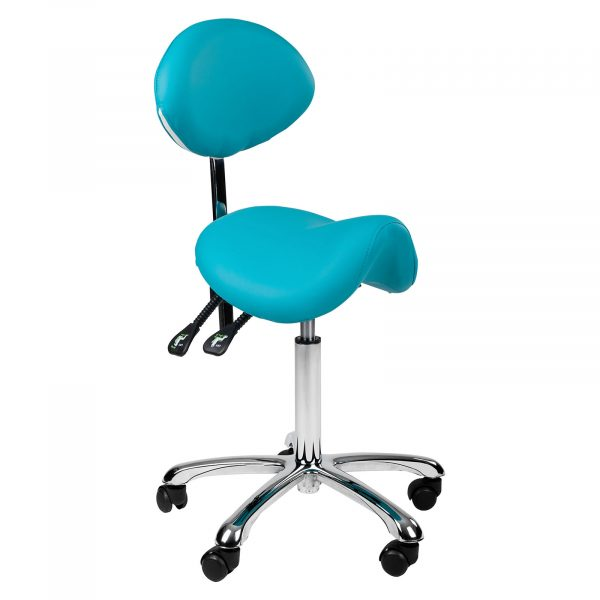 Stolička COMFORT | tyrkysová, anatomicky tvarované sedadlo zaručuje vysokú úroveň komfortu, pohodlné operadlo, nastavenie výšky (56 - 75 cm).
