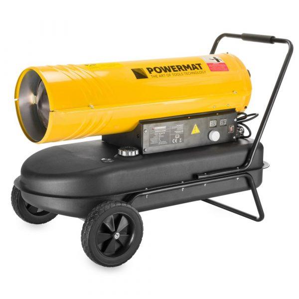Naftový ohrievač vzduchu 40kW | POWERMAT PM-NAG-40S, vhodný na vykurovanie chladných miestností, garáži, dielní. Prietok vzduchu: 720 m³ / h, LCD displej.
