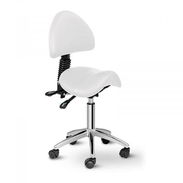 Sedlová stolička Physa BERLIN biela. Nastaviteľný sklon chrbtovej opierky na 90-120°sa výborne hodí do každého kaderníctva, salónu. Nosnosť 150 kg.