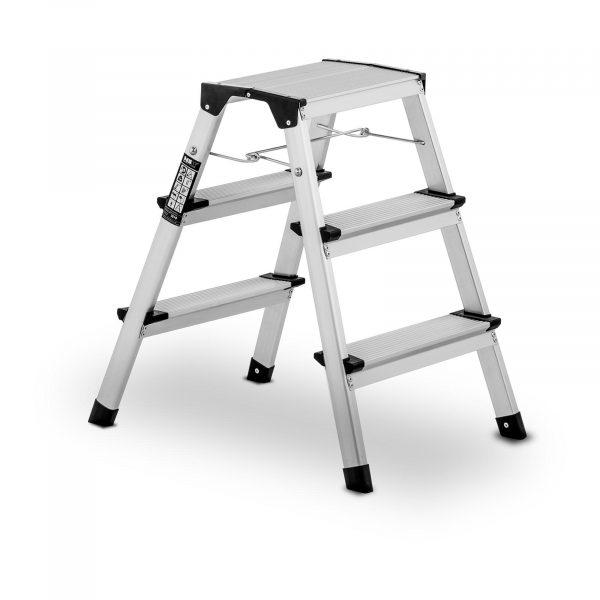 Hliníkové schodíky - obojstranné - 3 stupne - 10060959 Hliníkové schodíky - obojstranné - 3 stupne. Tri široké stupienky pokryté protišmykovým povrchom. Stabilita, jednoduchá manipulácia, rebrík s blokádou.
