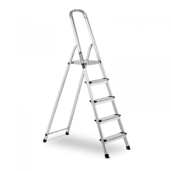 Hliníkový rebrík - jednostranný - 5 stupňov - 10060955 Hliníkový rebrík - jednostranný - 5 stupňov. Nosnosť do 150 kg, 5 protišmykových priečok, bezpečný zaisťovací mechanizmus.
