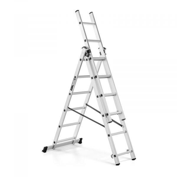 Hliníkový rebrík trojdielny - výška 3,45 m - 10060958 Hliníkový rebrík trojdielny - výška 3,45 m. Nosnosť 150 kg, všestranné využitie, max. pracovná výška 3,45 m. Priečny nosník s protišmykovými nožičkami.