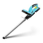AKU nožnice na živý plot - 510 mm, s reznou rýchlosťou 1 400 / min orežú kríky alebo rastliny, do priemeru 16 mm, akumulátor o 20 V, doba použitia 40 min.