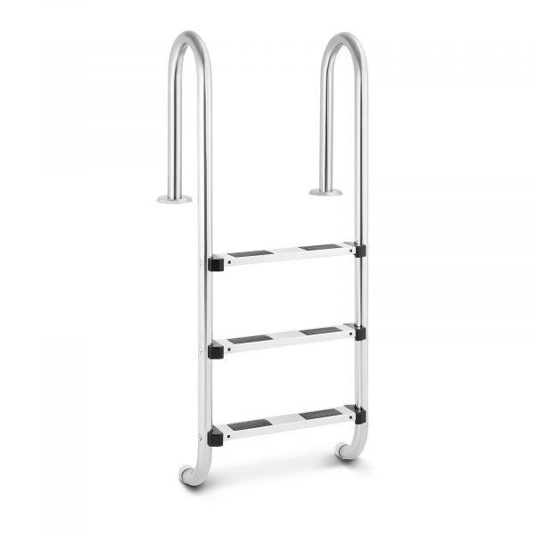 Bazénový rebrík - 3 stupne | 1320 mm, s nosnosťou 180 kg, 3 stupňami z nehrdzavejúcej ocele s protišmykovým povrchom. Úzky oblúk madiel.