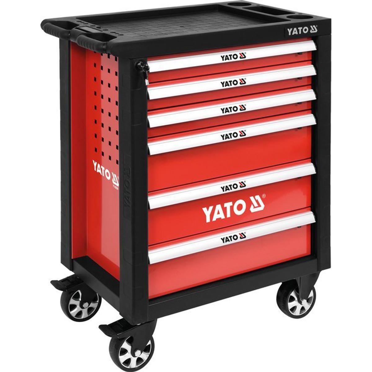 Dielenský vozík 6 zásuviek červená