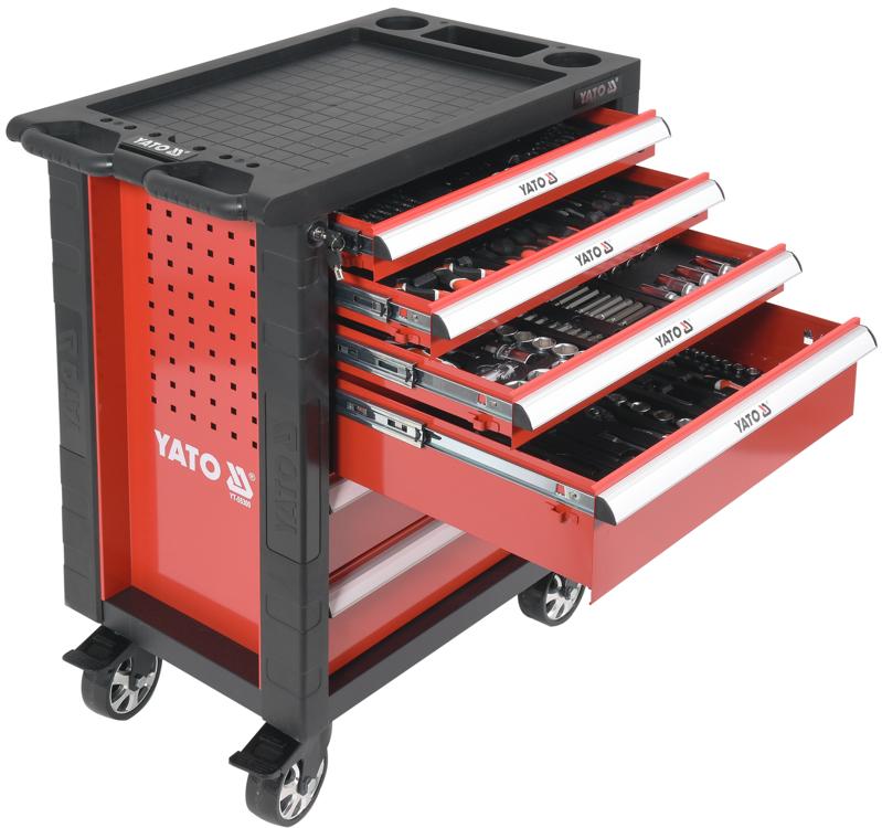 ee50e2b10b169 Dielenský vozík s náradím 6 zásuviek červená | 177 ks náradia, široké  ergonomické rukoväte.