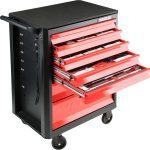 Dielenský vozík s náradím 7 zásuviek červená | 141 ks náradia