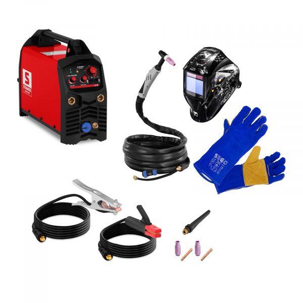 Súprava na zváranie TIG/MMA - 200 A - 230 V | zváracia kukla + rukavice. Jednosmerný prúd pre TIG DC 10 - 200 A. Prúd pre metódu MMA 10 - 180 A.