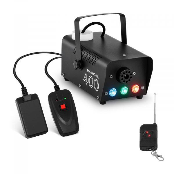 Výrobník hmly - 28 m³ / min   3 farby LED, výkonný 400 W motor, krátka doba vykurovania - len 3 minúty, 2 diaľkové ovládače káblový a bezdrôtový.