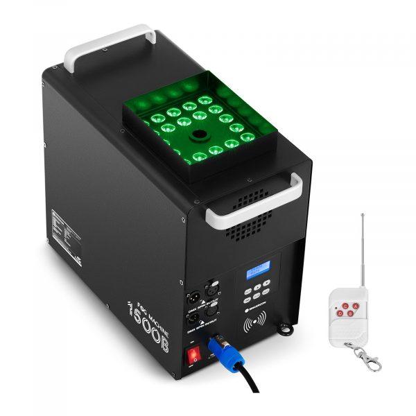 Výrobník hmly - 509 m³ / min - DMX - 3 farby LED - LCD, výber z 7 základných funkcií a 8 kombinovaných riadiacich kanálov, diaľkové ovládanie.