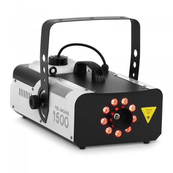 Výrobník hmly - LED 9 x 3 W - 1 500 W   566 m3/min, vyprodukuje hmlu pri 566 m³ / min. Možnosť vybratia farebných efektov modrá, zelená a červená.