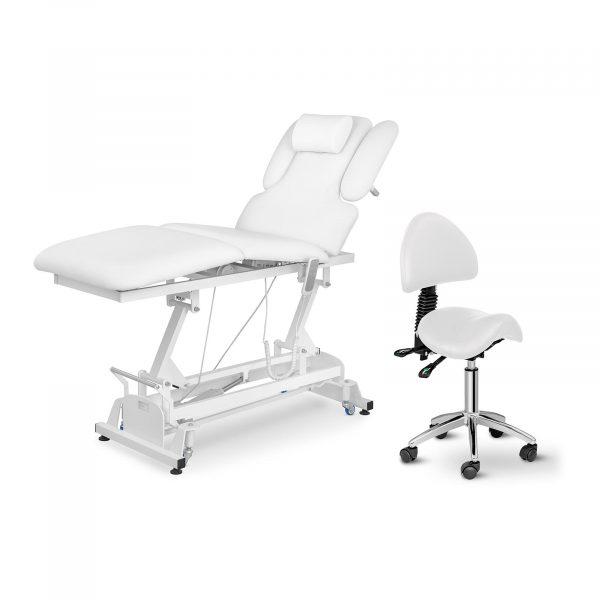 Elektrické masážne lehátko + stolička, model PHYSA BERLIN WHITE SET - 1, s 3 motormi s diaľkovým ovládaním, max. nosnosťou do 200 kg vhodné pre ordinácie.