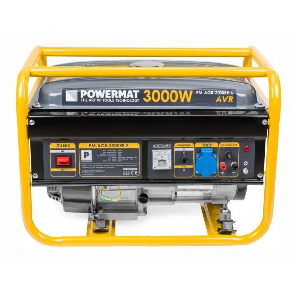 Elektrocentrála 3000 W - 230V / 12V s AVR | PM-AGR-3000KE-S, Regulátor napätia AVR, s bezpečnostnýn spínačom, kontrola hladiny oleja a benzínu.
