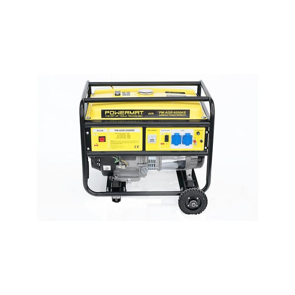 Elektrocentrála 230V / 12V AVR   PM-AGR-6500KE + elektrický štartér. Regulátor napätia AVR, priaznivú spotrebu a jednoduché štartovanie.