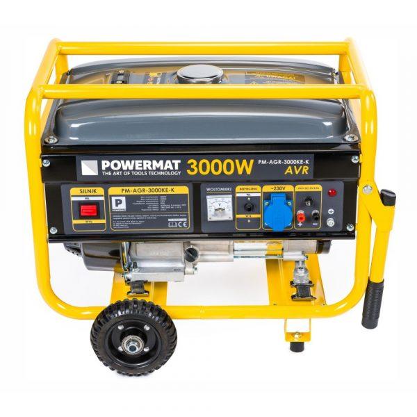 Elektrocentrála s kolesami 3000 W - 230V / 12V | PM-AGR-3000KE-K, so zabudovaným voltmetrom, bezpečnostný spínač, palivová nádrž: 15 L.