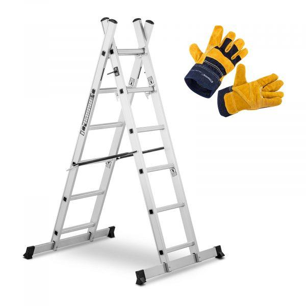 Hliníkový rebrík - multifunkčný + pracovné rukavice , model MSW-AB150-SET - 1, je praktický vďaka pracovnej výške od 172 do 270,7 cm. Zariadenie vyrží až 150 kg.