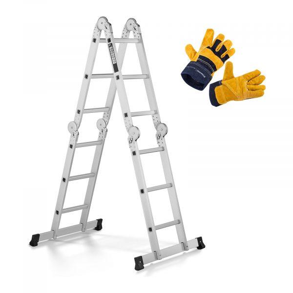 Hliníkový rebrík - multifunkčný + pracovné rukavice, model MSW-AVL12-SET - 1, maximálne pvolené zaťaženie 150 kg a prevádzková výška do 356 cm