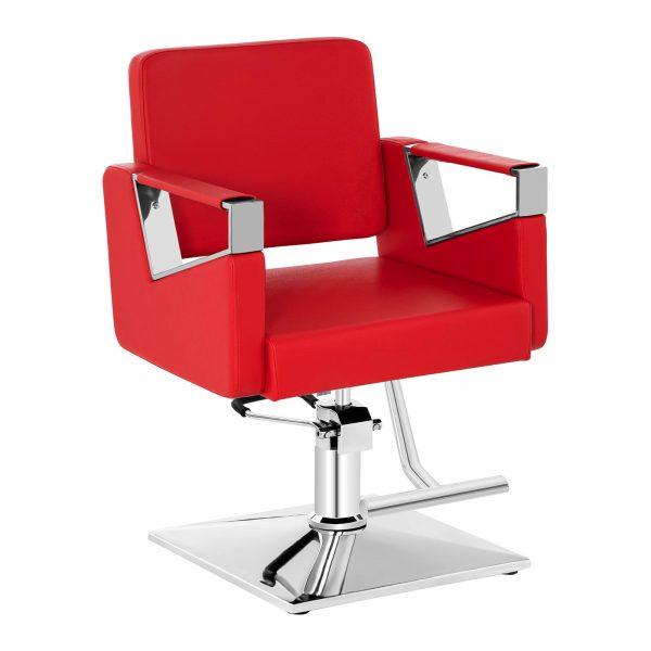 Kadernícke kreslo - červené model BRISTOL RED SET - 1, vďaka nastavenia výšky 445-550 mm sa hodí do kozmetického centra, kaderníckeho alebo holičského salónu.