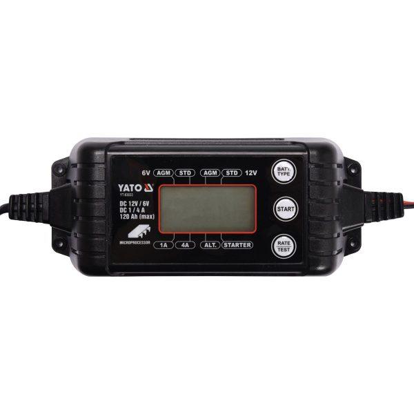 Nabíjačka PB/GEL s LCD display YATO | 4 A 6/12 V | YT-83033, s nabíjacím prúdom, určená pre nabíjanie bežných, gélových a AGM akumulátorov.
