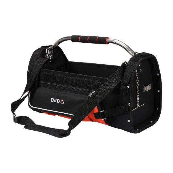Taška na náradie YATO | 52 x 33 x 24 cm s oceľovou rukoväťou |YT-74373. Pracovná taška, s popruhom, zvyšuje komfort a uľahčuje s náradím.