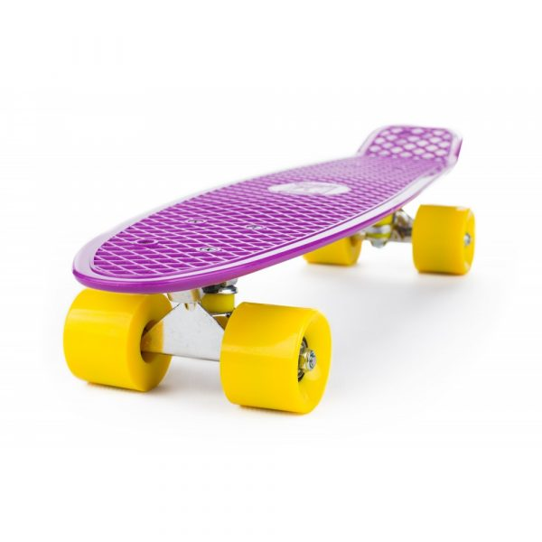 Penny Board, fialovo - žltý | ST-PS004A vďaka svojej konštrukcii a ľahkému materiálu je univerzálnejší ako štandardný skateboard.