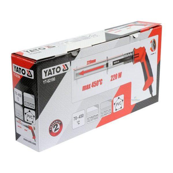 Tepelný nôž na polystyrén, PVC, PP, YATO | YT-82190, sa používa na rezanie prvkov z polymérov: polypropylén, PVC a polystyrén. Teplota do 450°C.