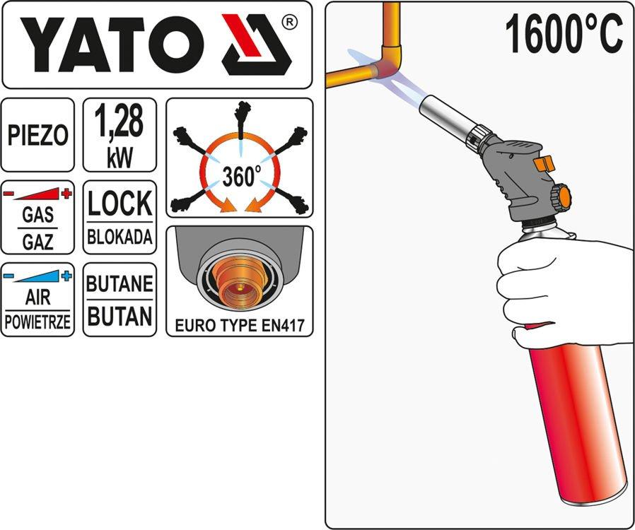 YATO plynový horák propán-bután 1,28 kw | YT-36709 s piezoelektrickým zapaľovaním YATO, dosahuje teplotu 1600 ° C,použitý v akejkoľvek polohe.