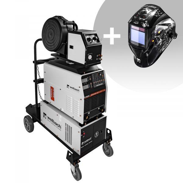 Zváračka MIG/MAG - 500 A - 400 V, zváracia helma umožňuje nastaviť zvárací prúd na práve spracovaný materiál v rozsahu od 30 do 500 A.