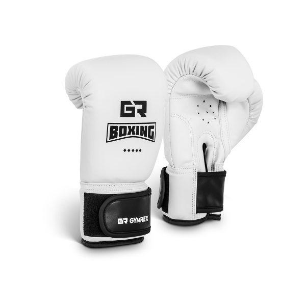 Boxerské rukavice pre deti | 4 oz – biele, model : GR-BG 4W, silné, dvojité prešívanie, hustá pena, bezpečné zapínanie na suchý zips, stabilizácia zápästia.