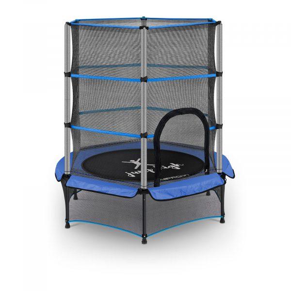 Detská trampolína s ochrannou sieťkou, modrá – 50 kg UNI_TRAMPOLINE_03 -1
