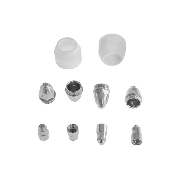 Náhradné diely - pre plazmové rezačky S-PLASMA / S-CUTTER, 2 keramické trysky, 4 elektródy a 4 plynové dýzy, vyrobené podľa normy DIN.