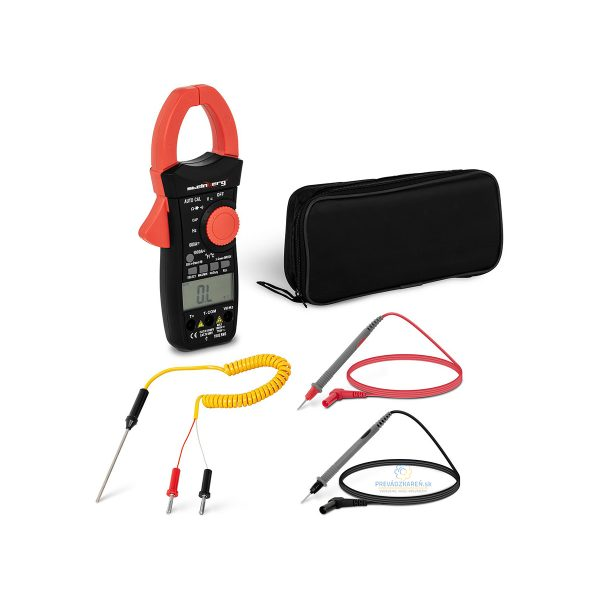 Svorkový multimeter True RMS |1000 A - 1000 V, funkcia, meranie napätia a prúdu aj sínusového napätia, meranie spínacieho prúdu, snímač teploty, CAT III.