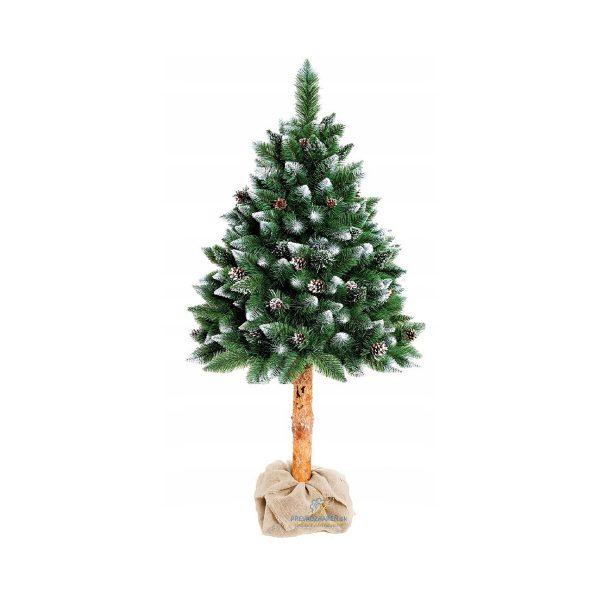 Umelý vianočný stromček borovica strieborná a šiška na pníku | 160 cm, husté ihličie zakončené kryštálmi ľadu a šiškami, drevený pník stromčeka.