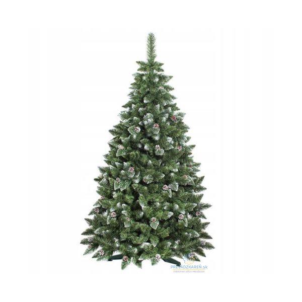 Umelý vianočný stromček borovica strieborná šiška | 220 cm, hústé ihličie zakončené šiškami a kryštálmi ľadu, symbol vianočných sviatokov.