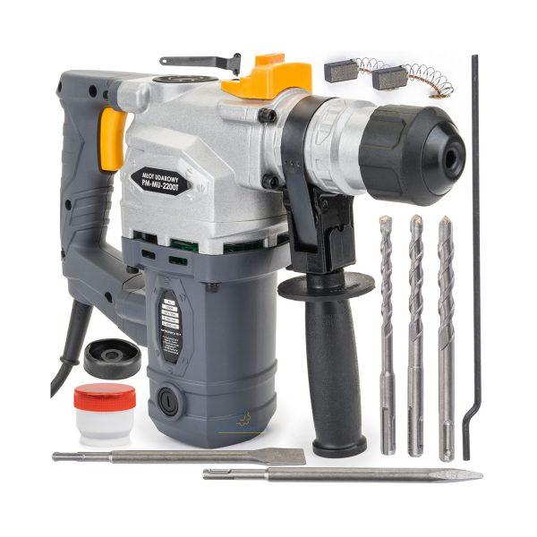 Búracie kladivo SDS + 2200W 4J | PM-MU-2200T, vhodné na vŕtanie, príklepové vŕtanie a sekanie do betónu, tehál, kvádrov pri domácich rekonštrukčných a demolačných prácach.