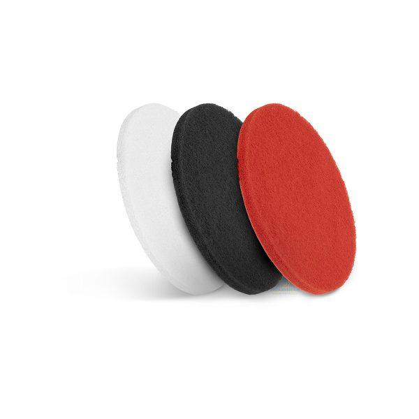 Čistiace pady - 3 ks | 17 palcov, biely mäkký, na leštenie. Červený stredne tvrdý, na denné čistenie. Čierny tvrdý, na dôkladné čistenie tvrdých podláh.