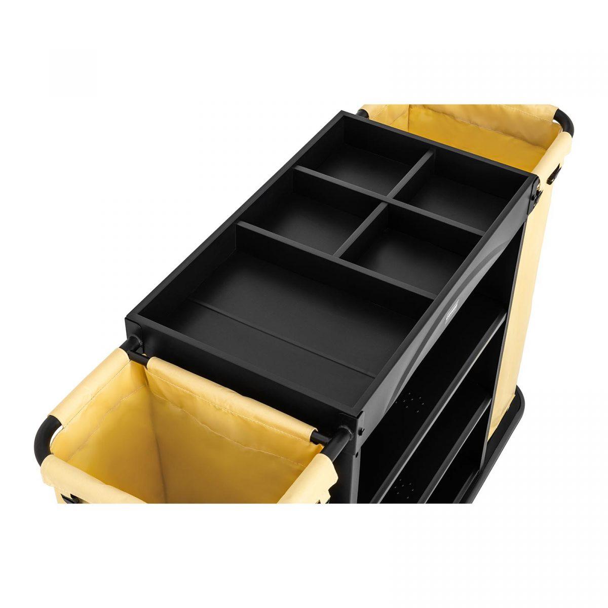 Hotelový vozík pre chyžné 2 vrecia na prádlo   nosnosť 150 kg, pevná oceľová konštrukcia, 4 kolesá s rotáciou 360° s brzdou, 3 odkladacie plochy.