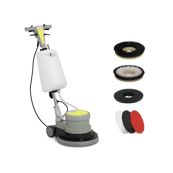 Jednokotúčový podlahový umývací stroj | kábel 12 m - 1100 W, na čistenie podláh škôl, múzeá, nemocnice, kancelárie. Jednoduché ovládanie.