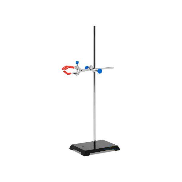 Laboratórny stojan so svorkou a objímkou, využitie pri štúdiu chémie alebo biológie. Tyč 305 mm, Svorka: 0-85 mm, Objímka: 16 mm, Oceľová základňa.