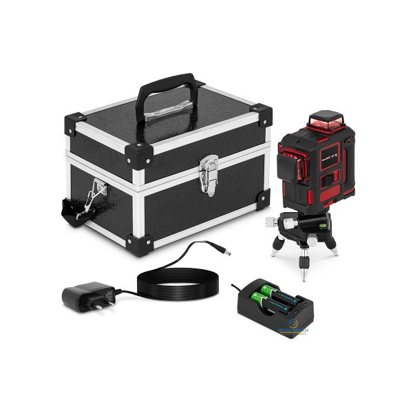 Rotačný laser so statívom a kufríkom | 25 m - 360 °, Presnosť merania ± 1,5 mm / 5 m pri vlnovej dĺžke 635 nm, Čas samonivelácie: 5 s.