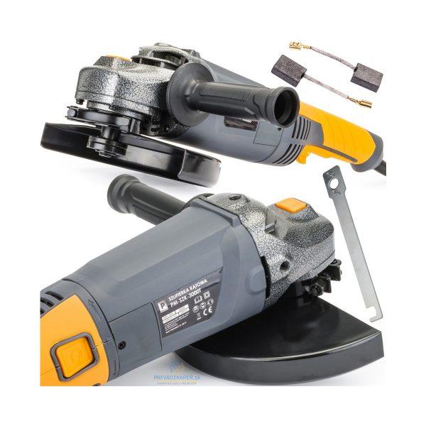 Uhlová brúska 230 mm - 3000W | PM-SZK-3000T Powermat Uhlová brúska od výrobcu POWERMAT určená na rezanie, brúsenie, čistenie materiálov ako sú kov, drevo, betón, plasty a mnoho ďalších. Brúska ma široké využitie v dielni, počas renovácie a stavebných prác. Funkcia SOFT-START je vybavená veľmi výkonným a efektívnym motorom s výkonom 3 000 W, ktorý ľahko dosahuje rýchlosť 6500 ot / min. Otočná rukoväť uľahčuje prácu v akejkoľvek polohe.