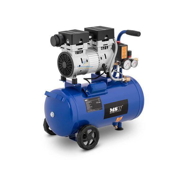 Bezolejový kompresor - 24 L - 8 bar | 750 W, dosahuje rýchlosti až 1 400 ot / min. Je skvelý pre potreby autoservisov, pripojenie pneumatického náradia.