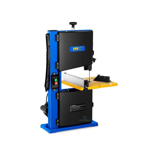Pásová píla na drevo - 350 W | 415 ot./min, pracovná plocha 30 x 30 cm, rezací stôl možno nakloniť až o 45 °, výška rezu: 90 mm, šírka rezu: 233 mm.