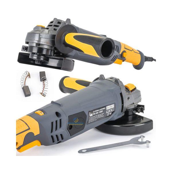 Uhlová brúska 125mm - 1500W | PM-SZK-1500T, rýchlosť otáčania 12 000 ot/min., na rezanie, brúsenie, čistenie materiálov ako sú kov, drevo, betón, plasty.
