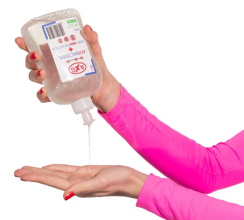 Antibakteriálny gél na ruky AXG 500 ml s aloe vera na dezinfekciu rúk bez oplachovania vodou, odstraňuje 99 % baktérií. 1 dávka = cca 2ml