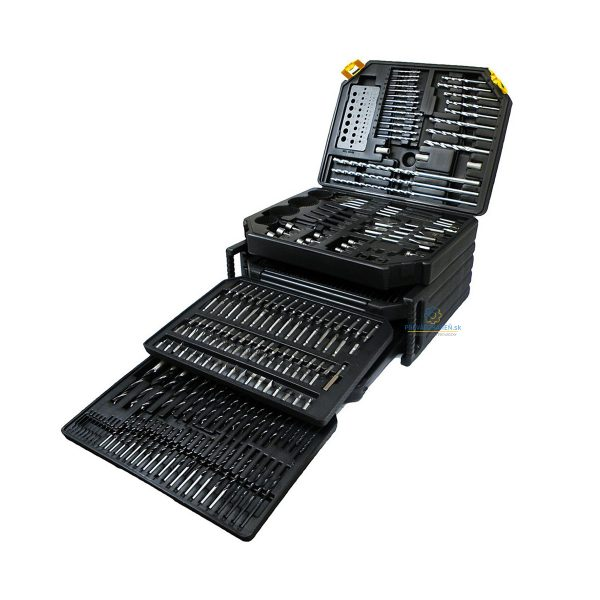 Sada vrtákov / dlát / bitov / korunkové vrtáky - 300 ks | s kufríkom SILVER 10414, dierkovačov, vrtákov do dreva, betónu, kovu pre každého domáceho majstra.