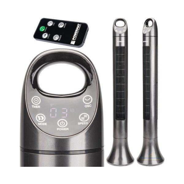 Stĺpový ventilátor - 80 W | Powermat Satin Tower-80, rovnomerne pohybuje vzduch v miestnosti. Otáčanie 90 °. Ideálne do kancelárií, domácnostti.