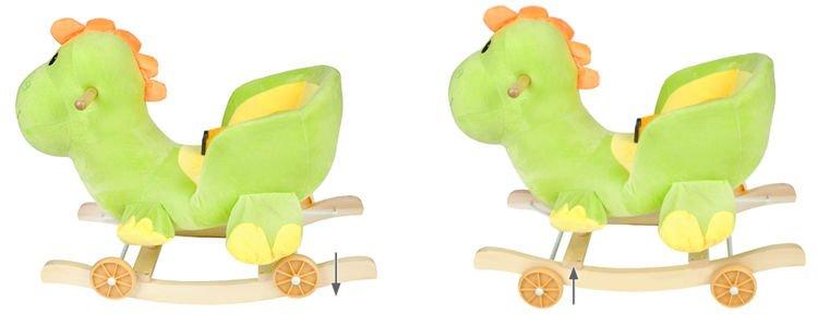 Detská hojdačka a odrážadlo 2v1   zelený dinosaurus, ergonomické sedadlo s operadlom a bezpečnostný pás s rychloupínaním zvukový reproduktor