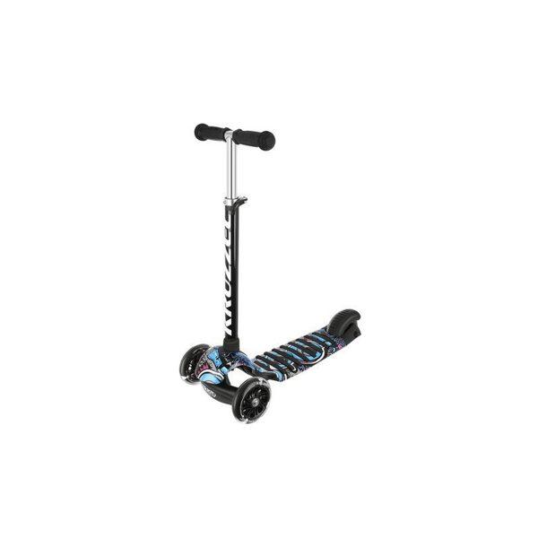 Detská kolobežka trojkolka Rapid   čierno-modrá, trojkolesová kolobežka, LED svietiace kolesá, výškovo nastaviteľná riadidlá - 3 úrovne, nosnosť až do 60 kg